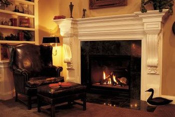 Tucked into a corner, this fireplace creates a small reading nook.