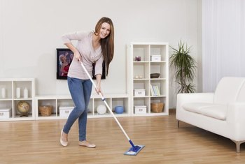 Dry mopping removes dust and dry debris from the floor.