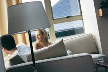 Glass and metal lamp shades are more interesting than basic white shades.