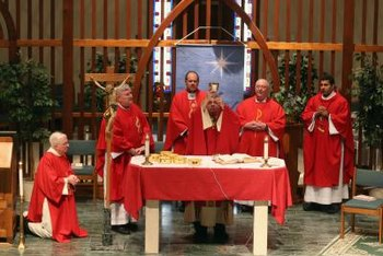 The church service for confirmation uses the liturgical colors of red and white.