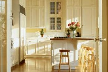 Use a few decorating tips to brighten a windowless kitchen.