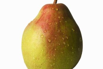 Comice pears have a chubby shape and a reddish blush.
