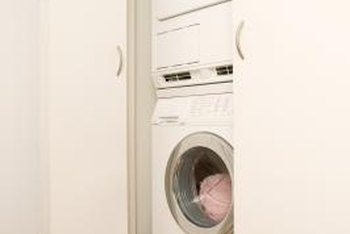 Full-sized stackable laundry machines have versatile placement capability.