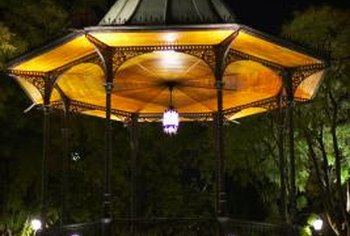 A gazebo makes the garden a secret hideaway at night.