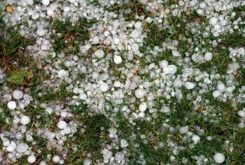 Hail stones are typically pea to marble-sized, but they can reach up to 6 inches in diameter.
