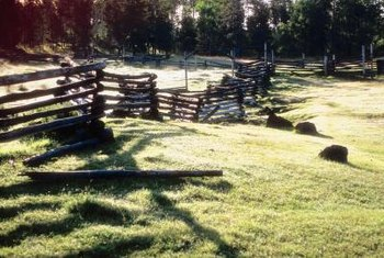 Snake rail log fences require more logs than post and rail fences but are easy to install.