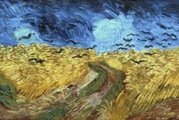 """Crows Over Wheat Field"" makes a perfect horizontal accent above the headboard."