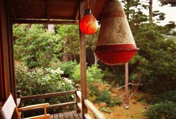 Hang a bird feeder nearby to attract birds to your deck.