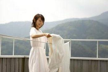 Line drying can help whiten yellowed linens.