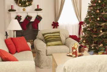 ... Decorate A Living Room For Christmas. For A Sophisticated Touch, Use  Holiday Bows To Tie Back Your Curtains.