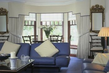 Bay Window Drapery Treatments A Layered Treatment Can Include Roller Shades Fabric Covered Cornice Board And Outer