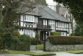 Tudor-style homes feature half-timbering to mimic 16th-century English style.