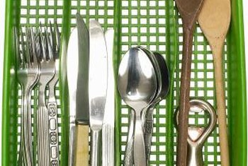 Containers help with silverware organization.