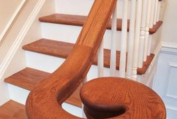 Stair railings are customized to fit the staircase.