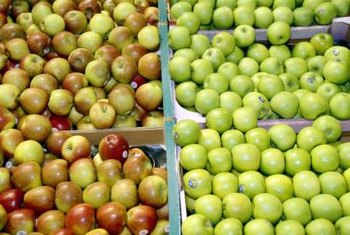 Jonagold apples feature distinctive three-colored skins.