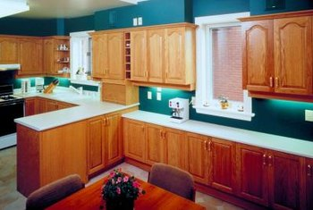 Caramel-colored oak cabinets were very popular in the 1970s and 1980s.