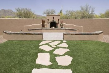 Several courses of stacked flagstones create a charming raised bed.