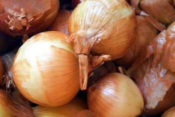 Sweet onions have yellow skin and white flesh.