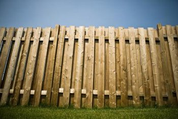 Add a stain to your privacy fence to keep it from turning gray.