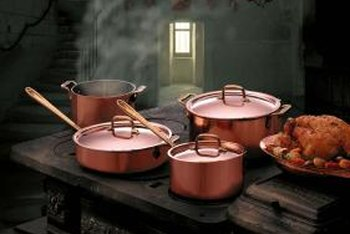 Tarnish diminishes the shine on copper pots.