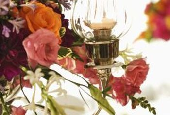 Flowers can add color and texture to a chandelier.