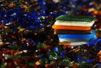 Brightly colored recycled glass is made from cullet that is remelted and retinted.