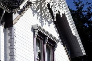 High-pitched Gothic Revival roofs often feature vergeboard trim, gables and drop finials.