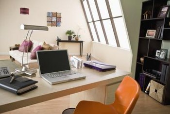 Merveilleux ... Home Office Work Space. Vertical Shelving Units Help To Maximize Wall  Space.