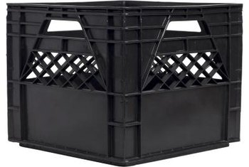 Plastic milk crates are sturdy and readily available in assorted colors.