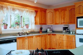 Add wood grain to cabinets for a quick facelift.