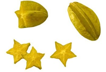 Cross-sections of carambola fruit are star-shaped.