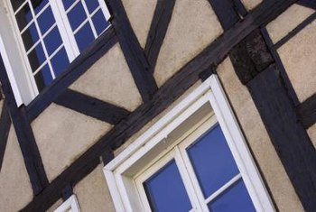 Many English Tudor homes have dark wooden planks.