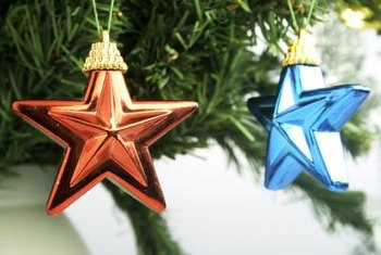 Create soft star ornaments with felt and cotton batting.