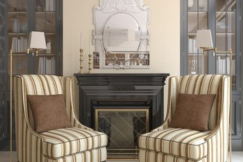 Use color to emphasize the built-in architectural details of fireplace bookshelves.
