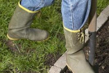 Wear a comfortable pair of boots when digging with shovels.