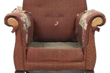 Make sure you get all the upholstery staples out when refurbishing your shabby old armchair.