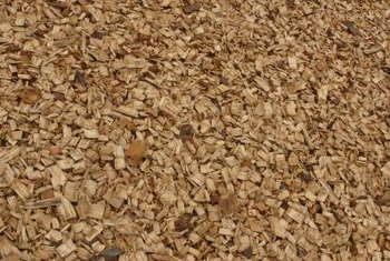 Wood chips are a good ground covering for a children's play area.