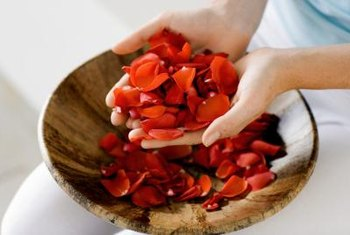 Rose petals come in many hues, from pinks, to reds, to white, orange or yellow.