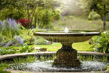 Image result for Images of fountains in gardens""