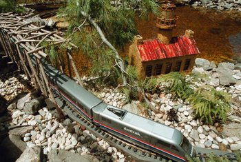 Model train dioramas often feature a fake pond with a trestle.