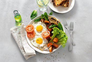 Healthy, Simple Breakfast With Bread and Eggs
