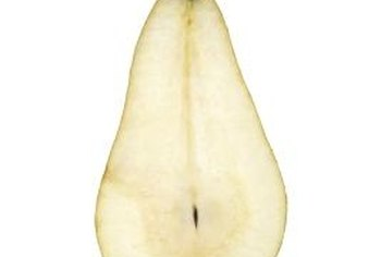 In this pear slice, the core, hypanthium and stalk are clearly visible.