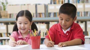 Kindergarten students coloring.