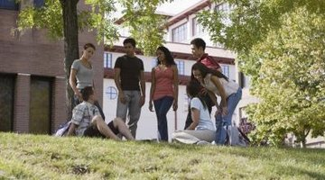 Students hanging out on college campus.