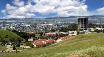 Hayward, East Bay hills, and the San Francisco Bay, overlooking California State University, East Bay and the iconic (now demolished) Warren Hall