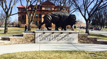 One of North Dakota State University's main iconic images welcomes you to their campus.