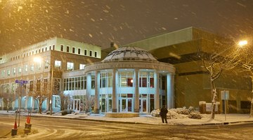 Norfolk gets one or two days of snow per year. This is a look of the library when it was snowing.