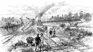 The building of the canal, depicted in this drawing, was a burdensome and difficult task.