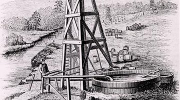 Edwin Drake built the first modern oil derrick near Titusville, Penn.
