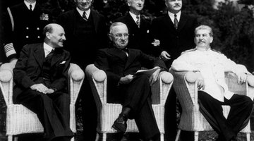 The new 'Big Three' at the Potsdam Conference, after Attlee succeeded Churchill as British Prime Minister. L-R seated: Clement Attlee, Harry S Truman and Joseph Stalin in August 1945.